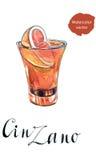 Szkło Cinzano z czerwoną pomarańcze ilustracji