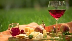 Szkło czerwone wino z przekąski Fotografia Royalty Free