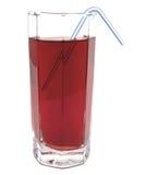 Szkło czerwony jabłczany sok z tubule Fotografia Royalty Free