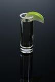 Szkło korzenny tequila z zielonym plasterkiem wapno, odmianowy gorący napój na zmroku - szary tło zdjęcie royalty free