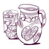 Szkło mojito, kostka lodu, nowi liście, wapno plasterek i cały wapno, Ręka alkoholu rysunkowy koktajl royalty ilustracja