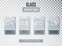 Szkło Odpierający zegar odizolowywający na przejrzystym tle Szablon początkujący data końca rabaty i promocje Zegarowy coun royalty ilustracja