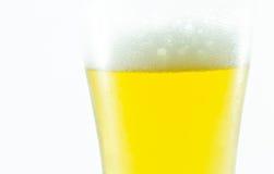 Szkło piwo na białym tle, zamyka up Fotografia Royalty Free