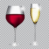 Szkło szampan i wino na Przejrzystej tło wektoru bolączce Zdjęcie Royalty Free