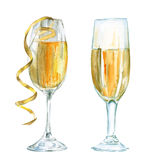 Szkło szampan izolujący Akwareli nakreślenie Zdjęcie Stock