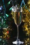 Szkło szampan pod choinką obrazy stock