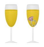 Szkło szampan z menchia pierścionkiem Zdjęcie Royalty Free