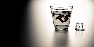 Szkło whisky z sześcianem lód ilustracja wektor