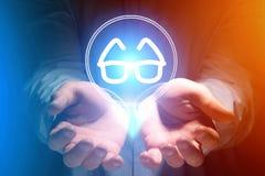 Szkło widoku ikona nad rękami - Medyczny pojęcie Zdjęcie Royalty Free