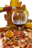 Szkło wino wśród jesieni dekoraci Zdjęcia Stock