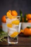 Szkło z świeżymi soczystymi dojrzałymi mandarynów Tangerines, lód Odbitkowa przestrzeń i zbliżenie na ciemnym tle Frontowy widok Obraz Royalty Free