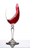 Szkło z pluśnięciem czerwone wino Obraz Stock
