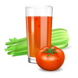 Szkło z pomidorowym i selerowym sokiem Pomidor i seler Zdjęcia Stock