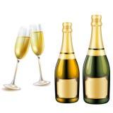Szkła i butelka szampan Obraz Royalty Free