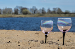 Szkła na brzeg rzeki Obrazy Royalty Free