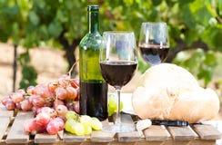 Szkło czerwonych win dojrzali winogrona chleb w winnicy i Fotografia Royalty Free