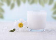 Szkło mleko na drewnianym stole Zdjęcia Royalty Free