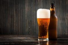 Szkło piwna i piwna butelka Zdjęcie Stock