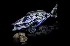 Szkło ryba na czarnym tle Zdjęcia Royalty Free