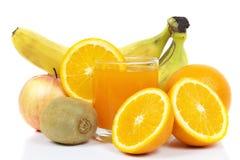 Szkło sok i owoc Obrazy Royalty Free