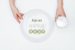 Szkło woda i talerz z ogórkiem, mozzarella, ziele Obraz Royalty Free