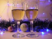 Szkła wino, sylwester fotografia royalty free