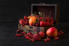 Szkatuła dla dekoracj z owoc i jagodami Fotografia Stock