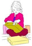 Szkicowa wektorowa ilustracja młoda dziewczyna otwiera ona teraźniejszość Obrazy Royalty Free