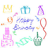 szkicowe urodzinowe ikony royalty ilustracja