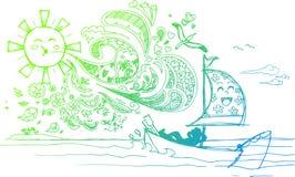 Szkicowi doodles: wakacje letnie Fotografia Royalty Free