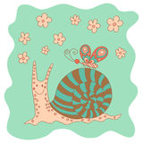 Szkicowy mały różowy śmieszny ślimaczek z kwiatami i motylem Zdjęcia Royalty Free