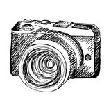 Szkicowy Mirrorless kamera ilustracja wektor