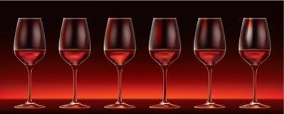 szkieł czerwieni sześć wektorowy wino Fotografia Royalty Free