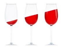 szkieł czerwieni trzy wino Obraz Royalty Free