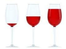 szkieł czerwieni trzy wino Fotografia Stock