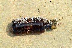 Szklana butelka z morzem łuska na plaży Zdjęcie Royalty Free