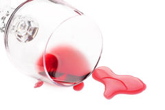 szklana czerwień rozlewający wino Obraz Stock
