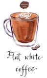 Szklana filiżanka płaska biała kawa ilustracji