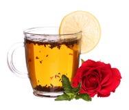 Szklana filiżanka poślubnik róże herbaciane z cytryną i mennicą odizolowywającymi na bielu Obraz Stock