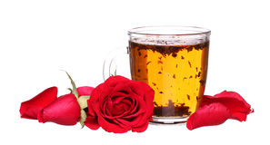 Szklana filiżanka poślubnik róże herbaciane z cytryną i mennicą odizolowywającymi na bielu Fotografia Stock