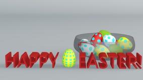 Szklana filiżanka z barwionymi Wielkanocnymi jajkami świadczenia 3 d Royalty Ilustracja