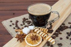 Szklana filiżanki kawy espresso kawa Zdjęcia Royalty Free