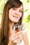 szklana mienia wody kobieta Zdjęcia Stock