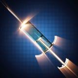 Szklana strzykawka na błękitnym tle Obraz Royalty Free