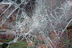 Szklana tekstura z pęknięciami na łamanym szkle Fotografia Stock