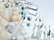Szklane buteleczki szczepionka Obraz Stock