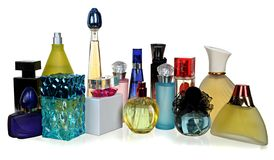 Szklane butelki pachnidło zdjęcia stock