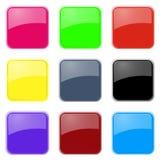Szklane ikony Ustawiać Obraz Stock