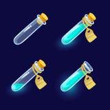 Szklane kolby z kolorowymi cieczami Zdjęcia Stock