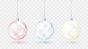 Szklane przejrzyste Bożenarodzeniowe piłki Elementów bożych narodzeń dekoracje Błyszczące kolorowe zabawki z złotą czerwienią i b ilustracji